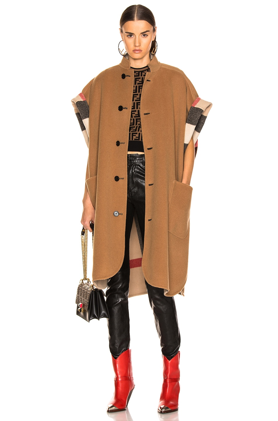 Image 1 of Burberry Solid Check Cape in Camel