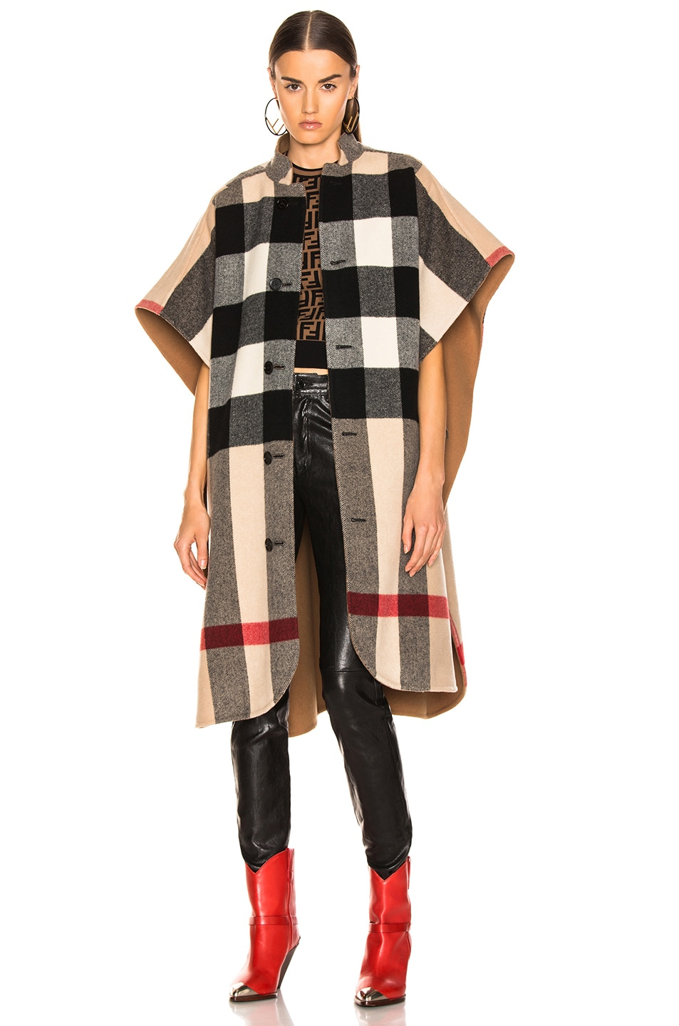 Image 2 of Burberry Solid Check Cape in Camel