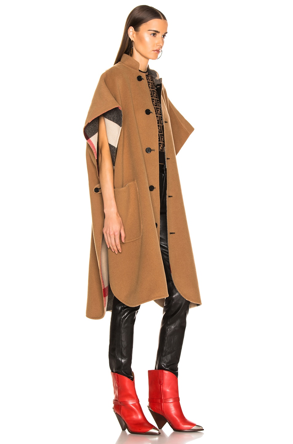 Image 4 of Burberry Solid Check Cape in Camel