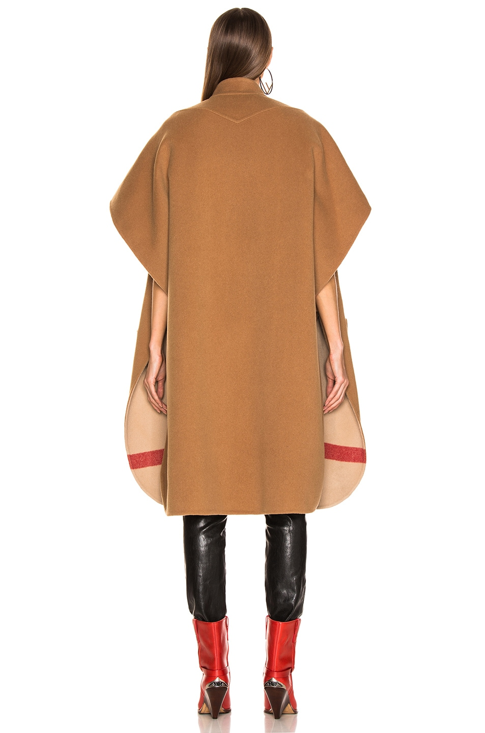 Image 5 of Burberry Solid Check Cape in Camel