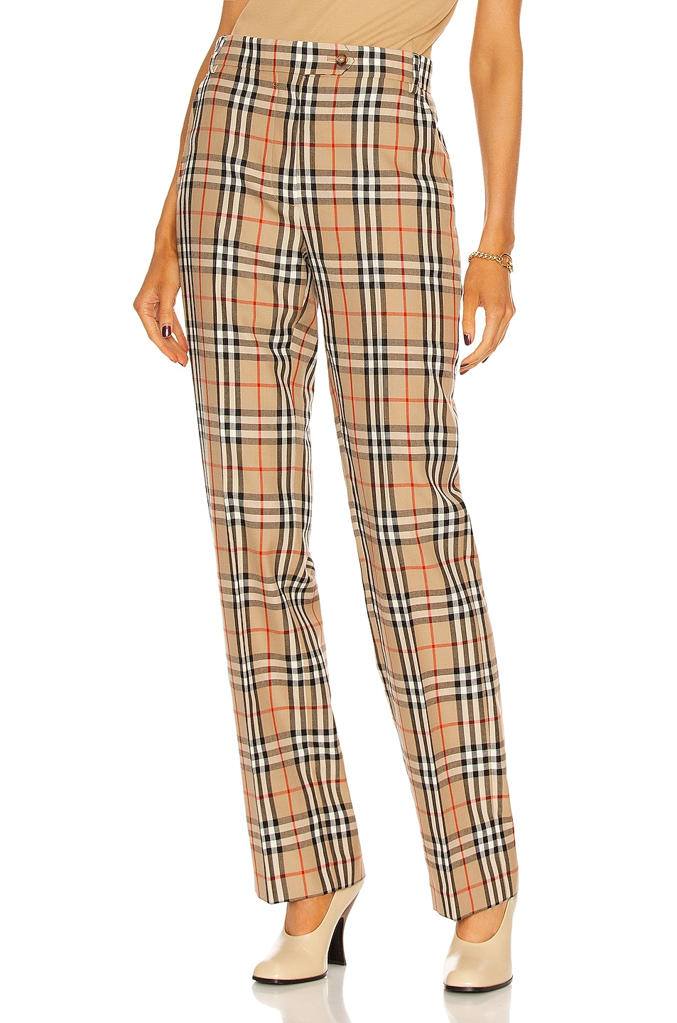 Image 1 of Burberry Fleur Tailored Pant in Archive Beige IP Check