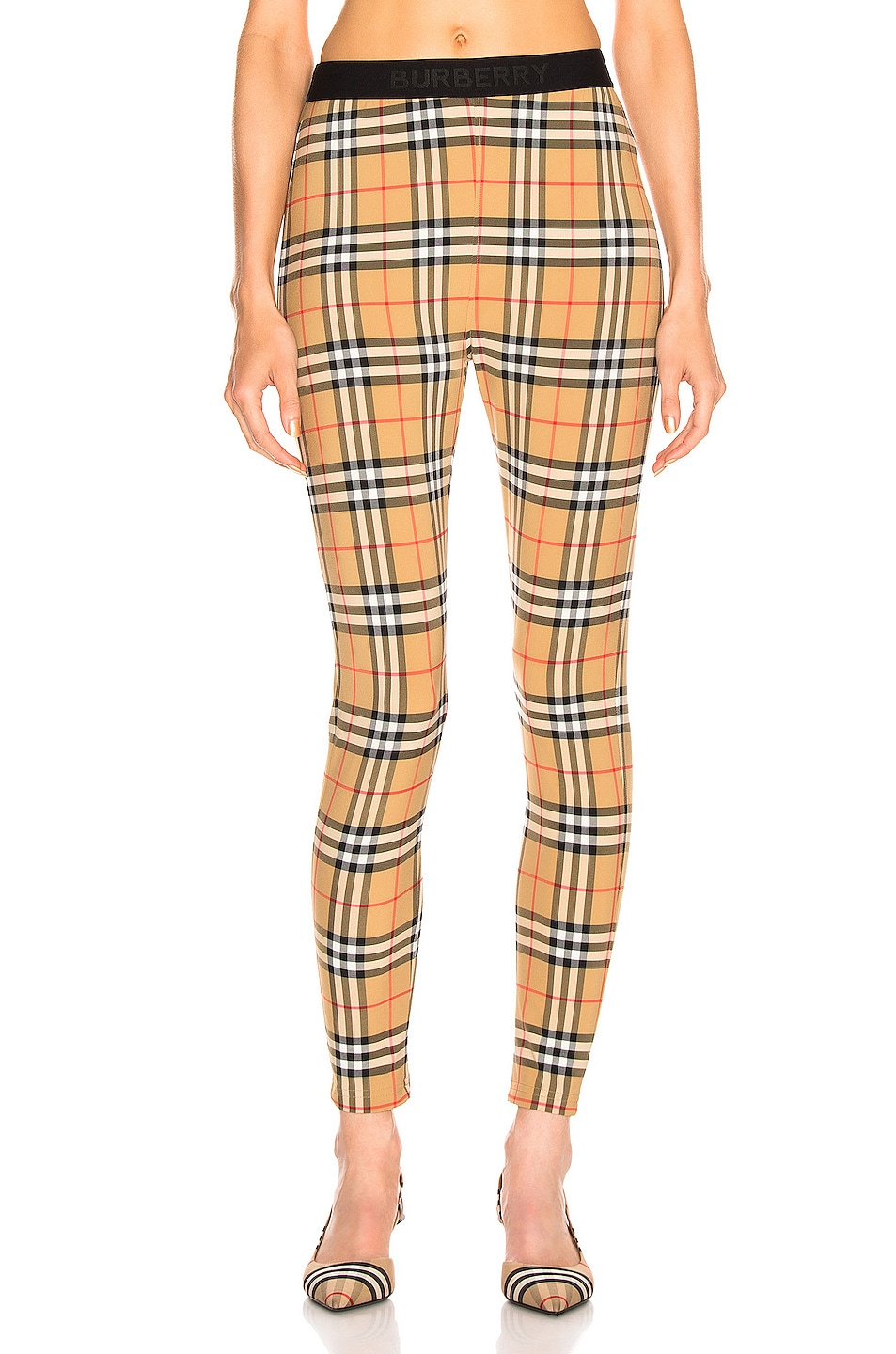 Image 1 of Burberry Logo Legging in Antique Yellow Check