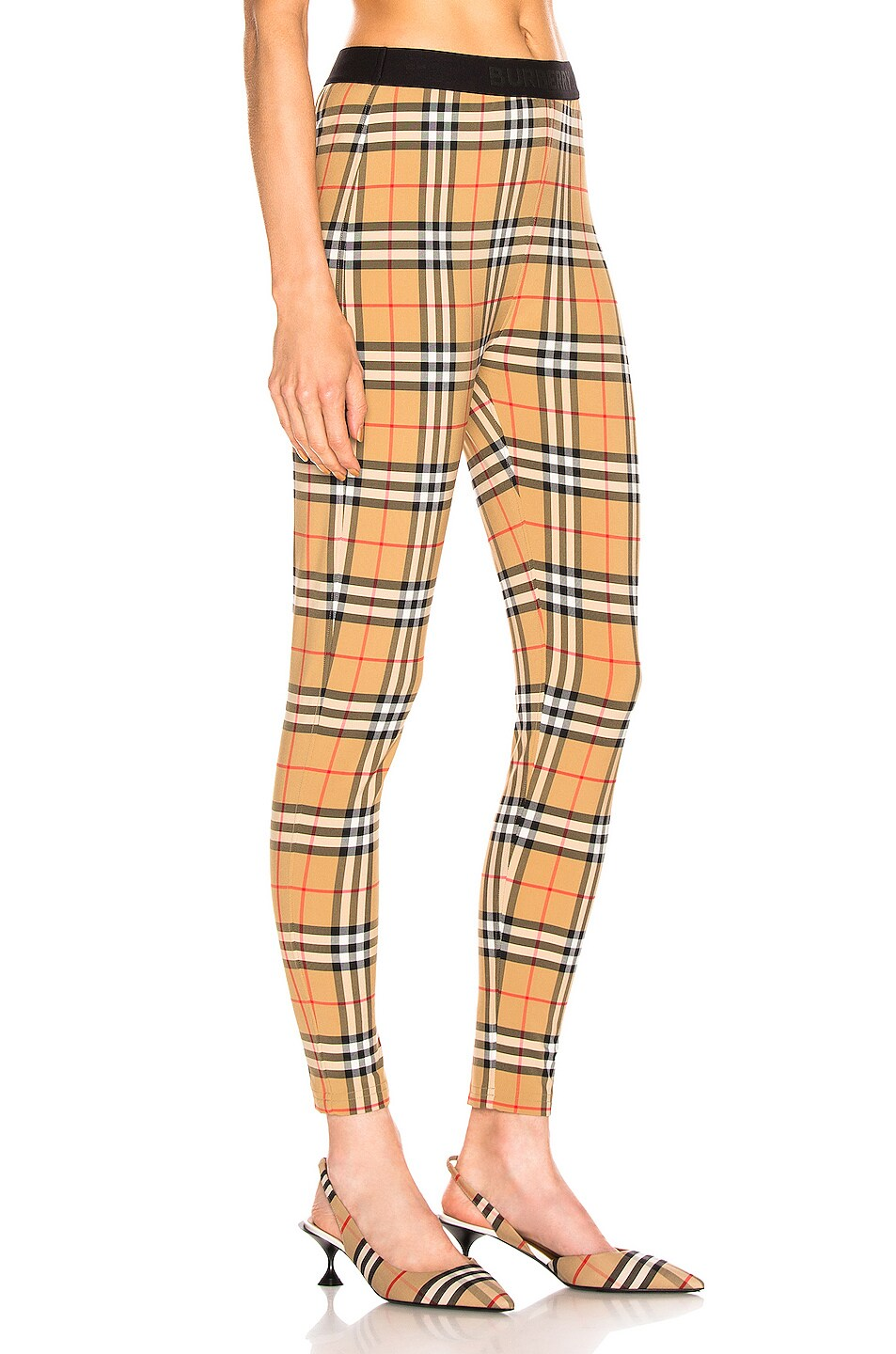 Image 2 of Burberry Logo Legging in Antique Yellow Check