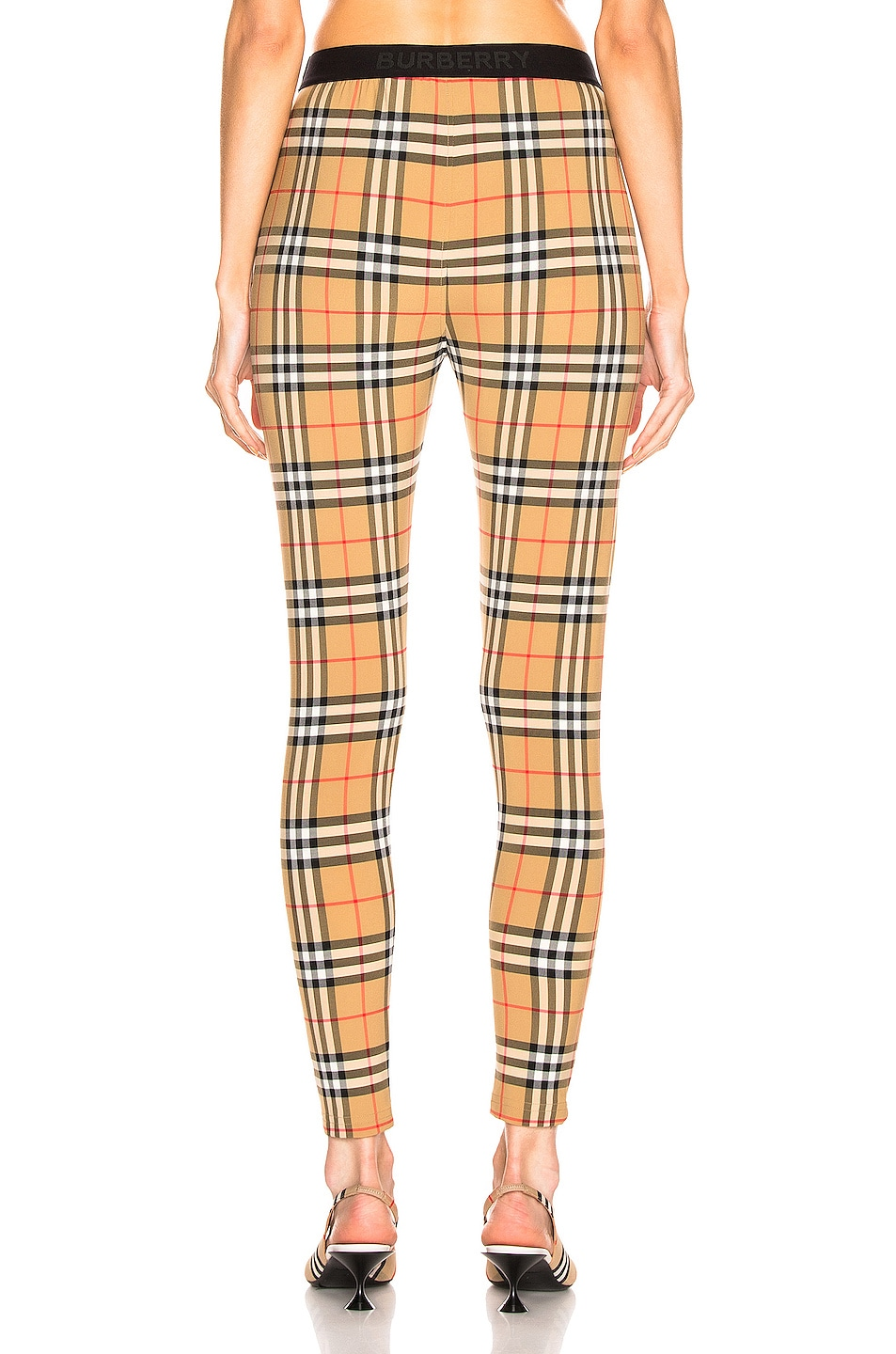 Image 3 of Burberry Logo Legging in Antique Yellow Check
