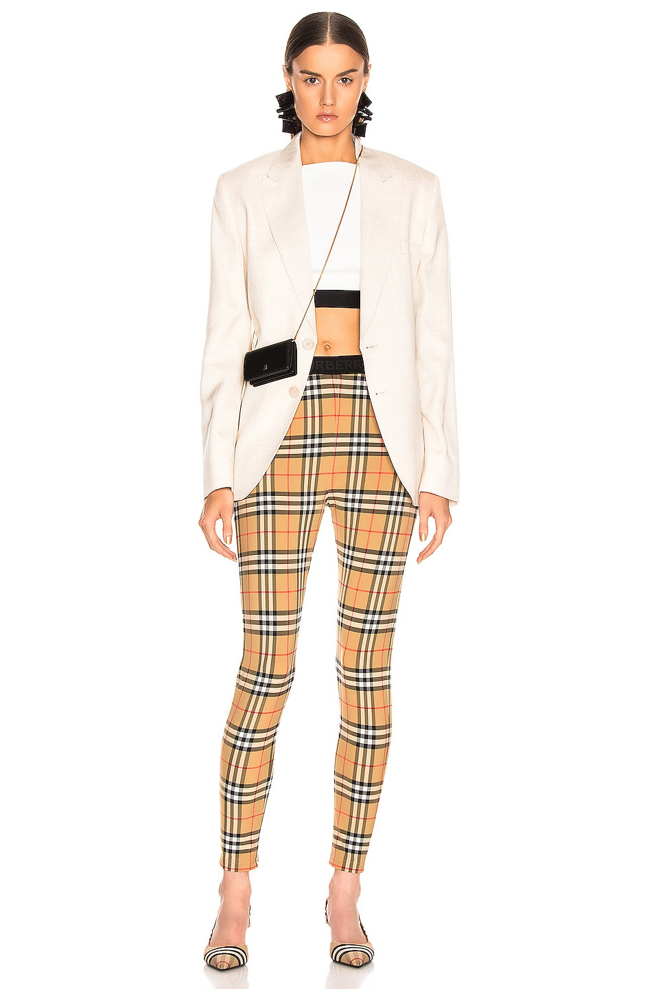 Image 4 of Burberry Logo Legging in Antique Yellow Check