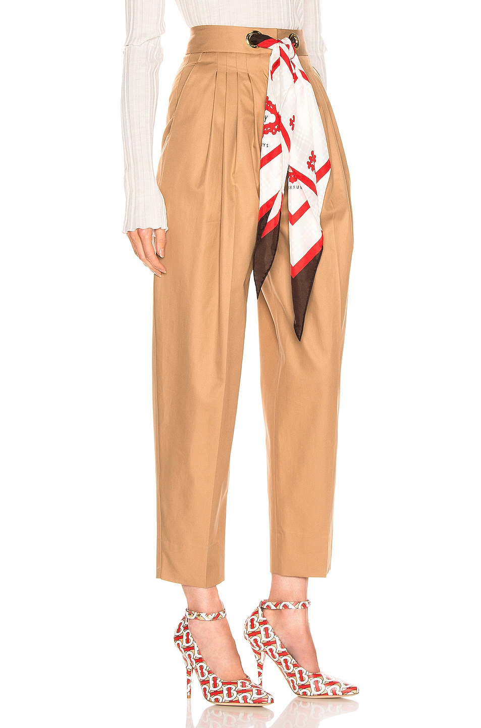 Image 2 of Burberry Silk Scarf Trouser in Driftwood