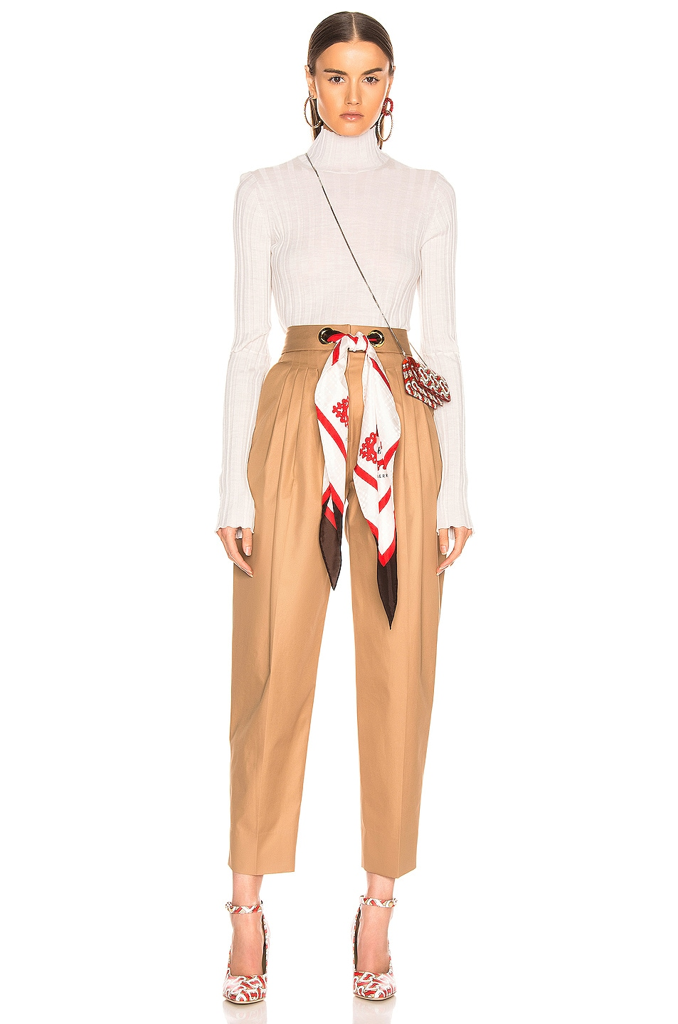 Image 4 of Burberry Silk Scarf Trouser in Driftwood
