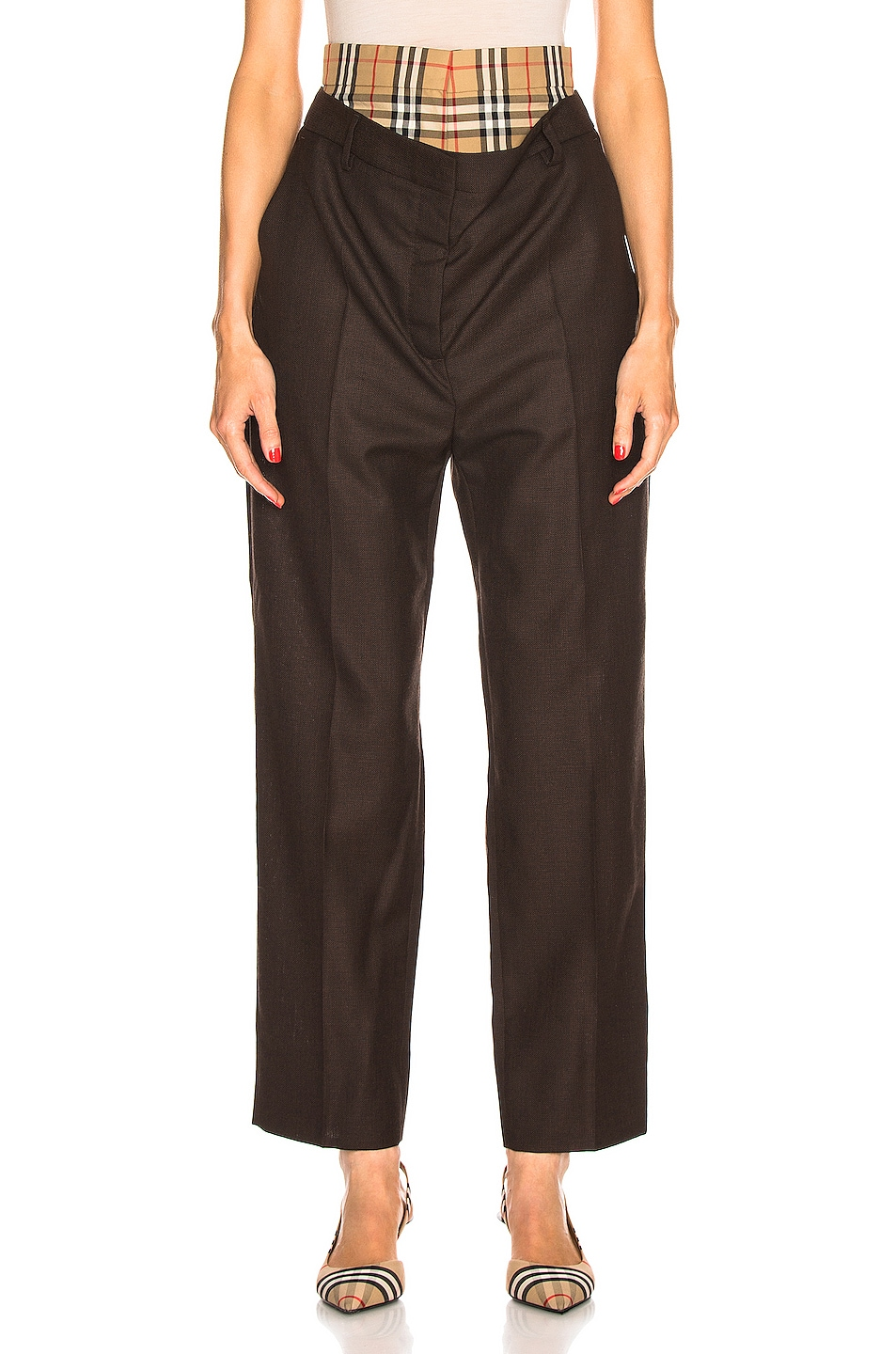 Image 1 of Burberry Double Waist Pant in Coffee