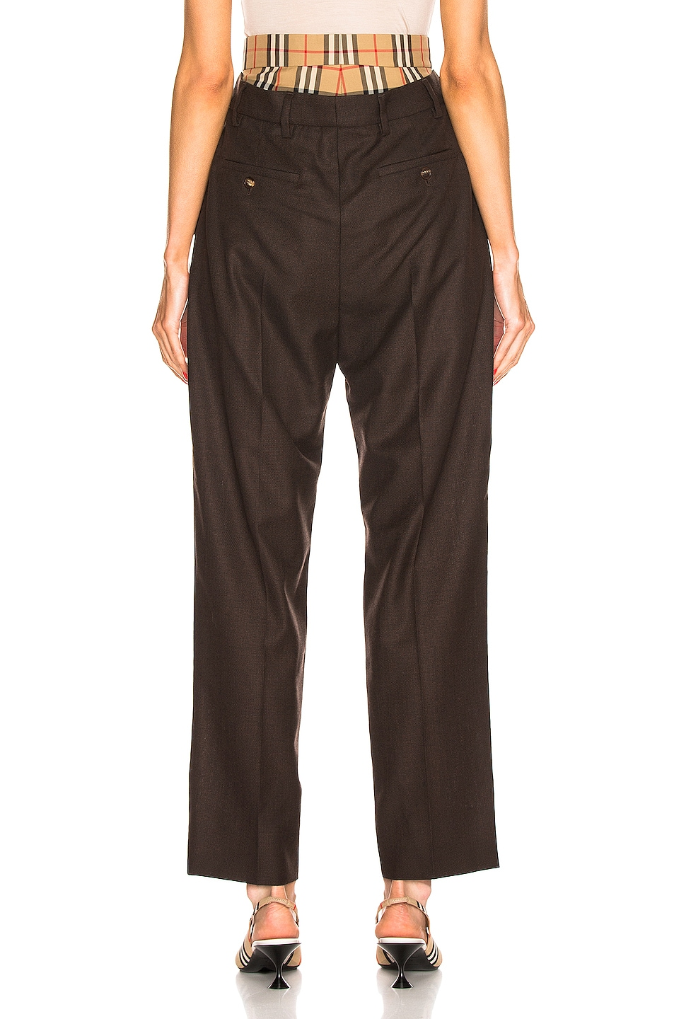 Image 3 of Burberry Double Waist Pant in Coffee