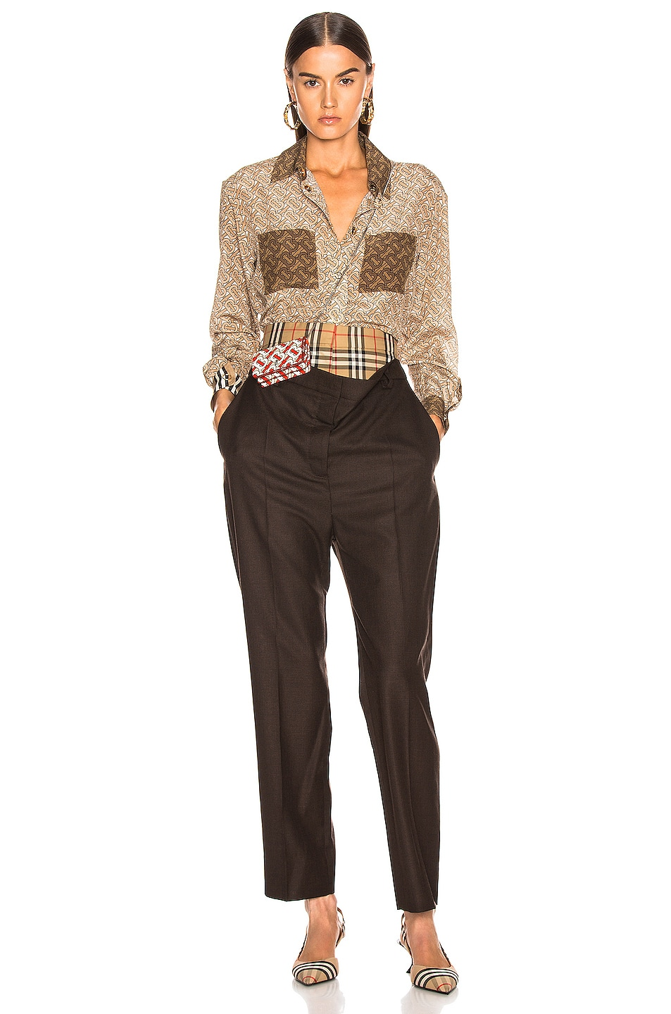 Image 4 of Burberry Double Waist Pant in Coffee