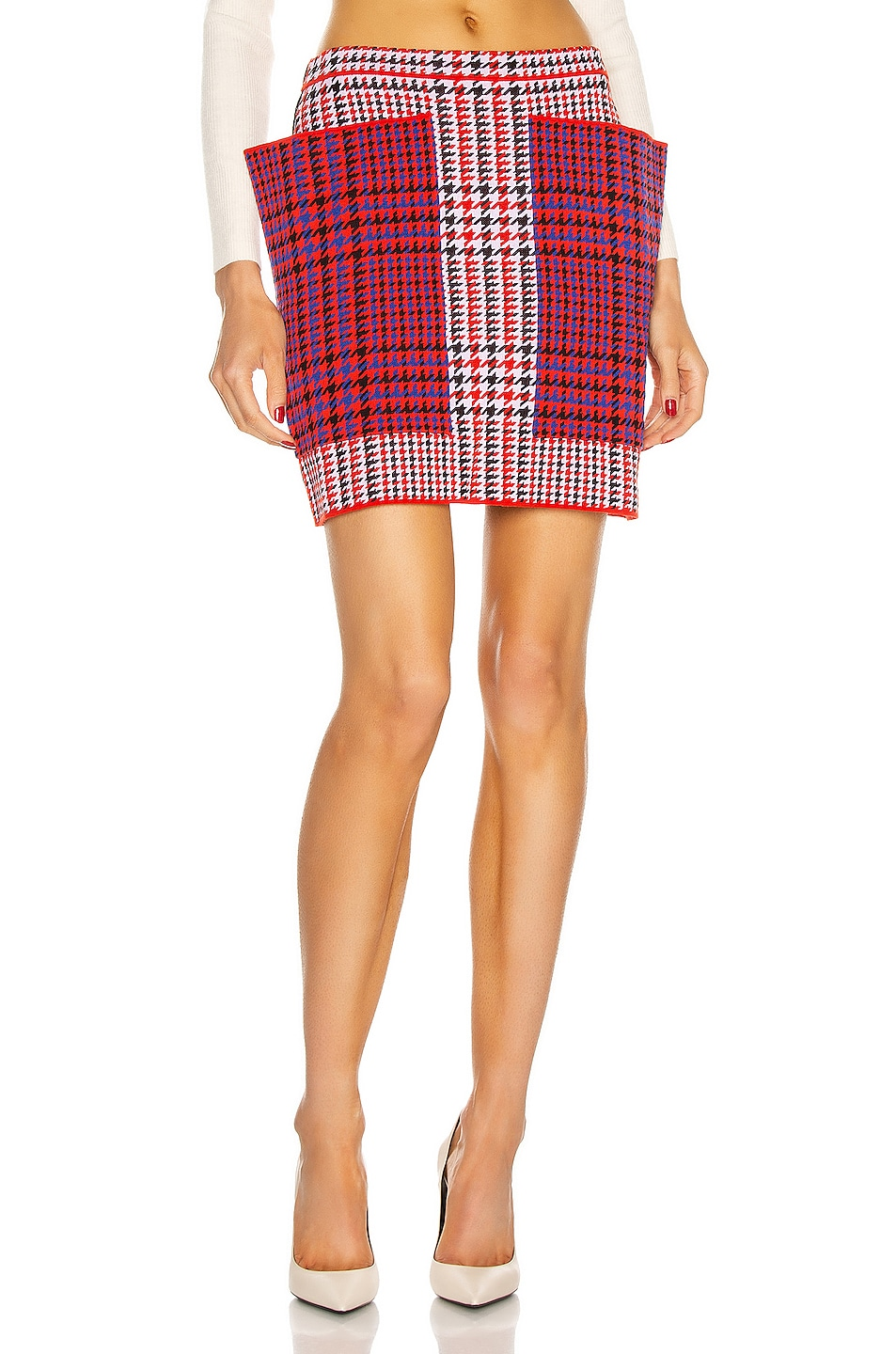 Image 1 of Burberry Talea Houndstooth Mini Skirt in Bright Red