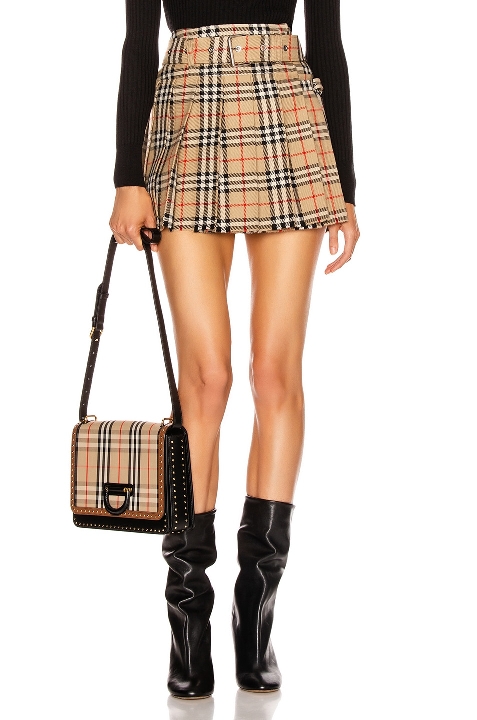 Image 1 of Burberry Belted Mini Skirt in Archive Beige