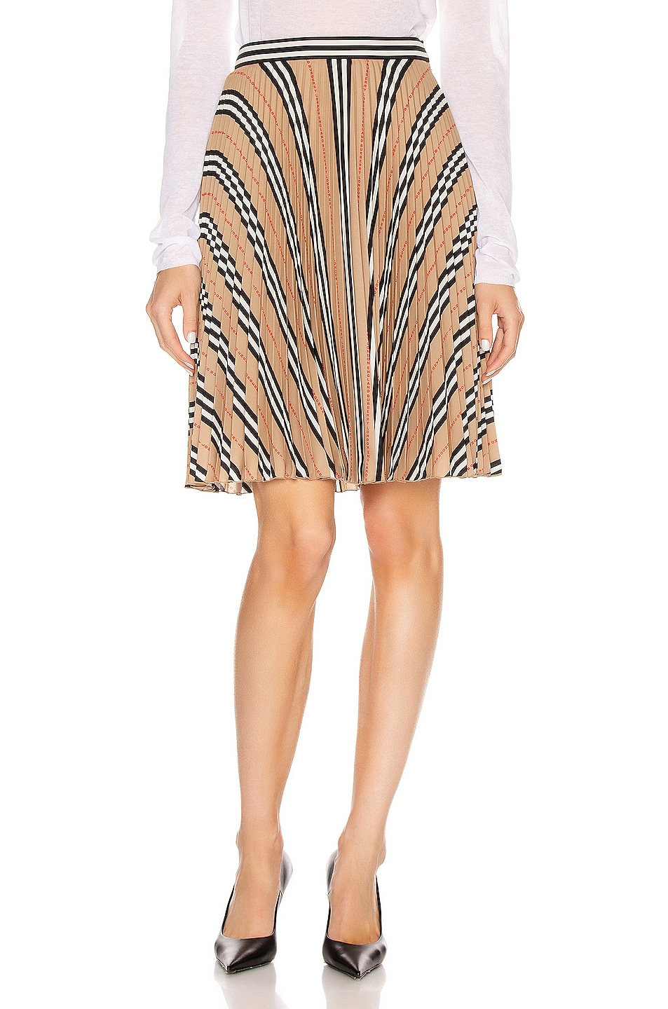 Image 1 of Burberry Midi Skirt in Archive Beige