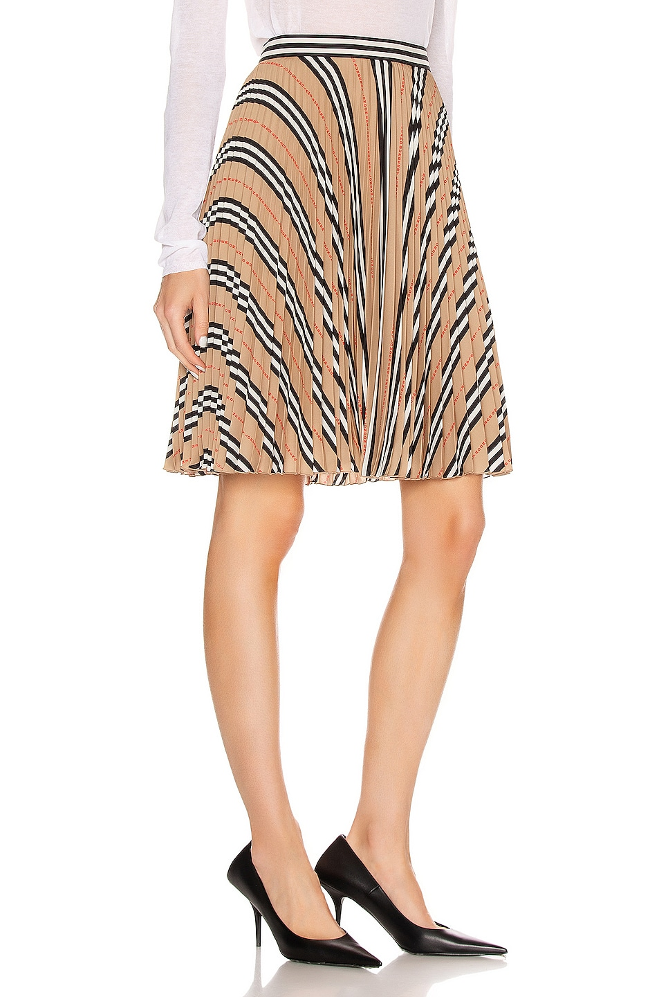 Image 2 of Burberry Midi Skirt in Archive Beige