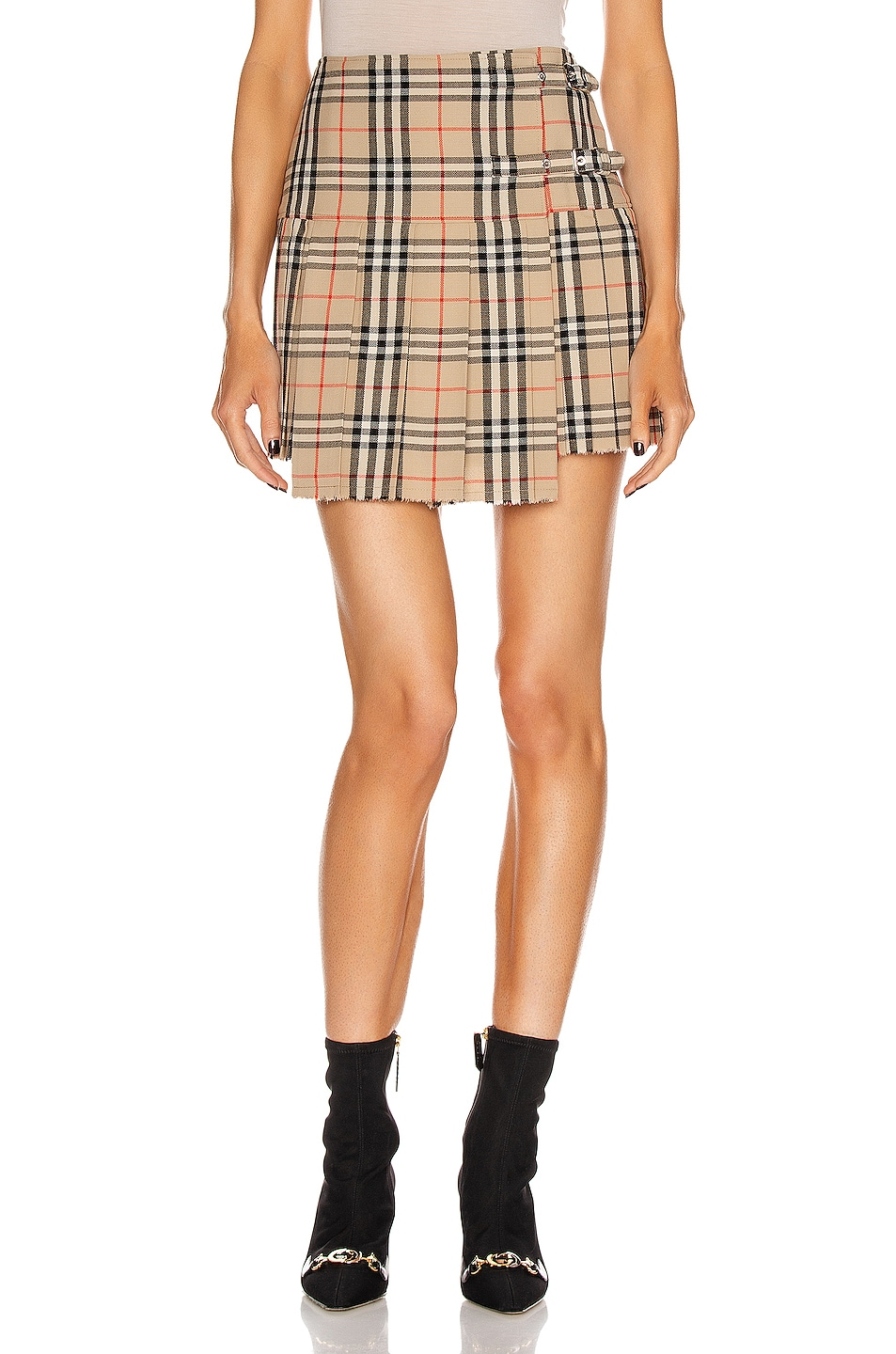 Image 1 of Burberry Mini Skirt in Archive Beige Check