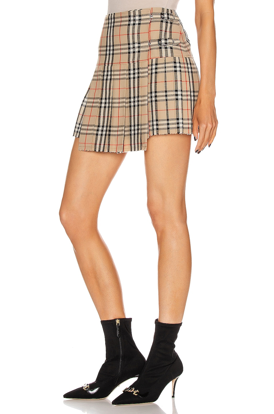 Image 3 of Burberry Mini Skirt in Archive Beige Check