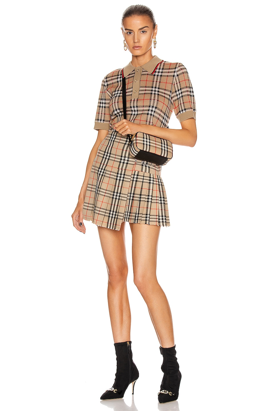 Image 5 of Burberry Mini Skirt in Archive Beige Check