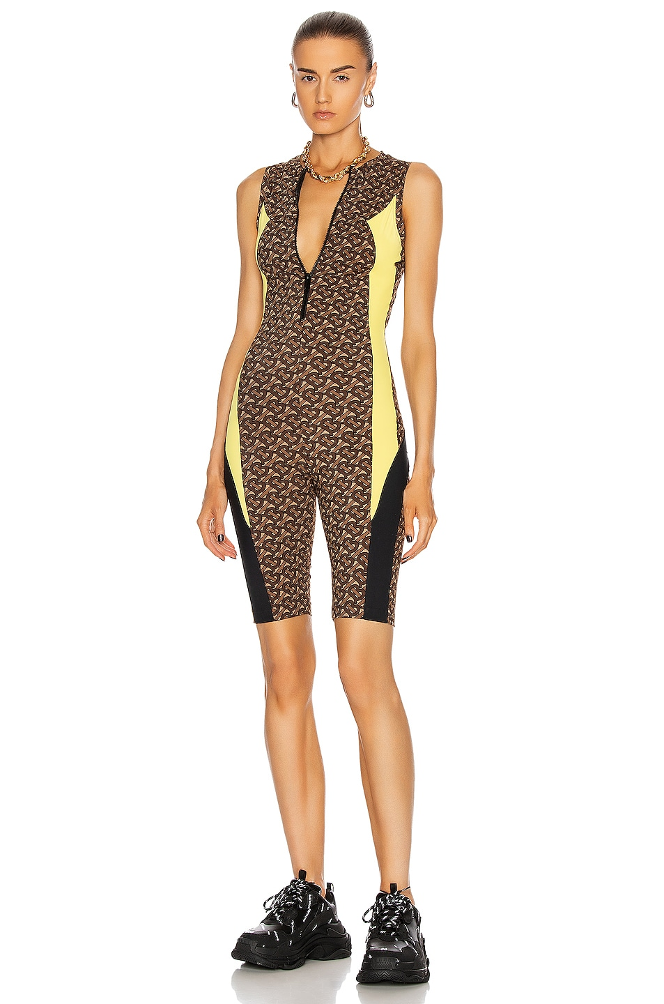 Image 1 of Burberry Kelsey Cycle Romper in Bridle Brown