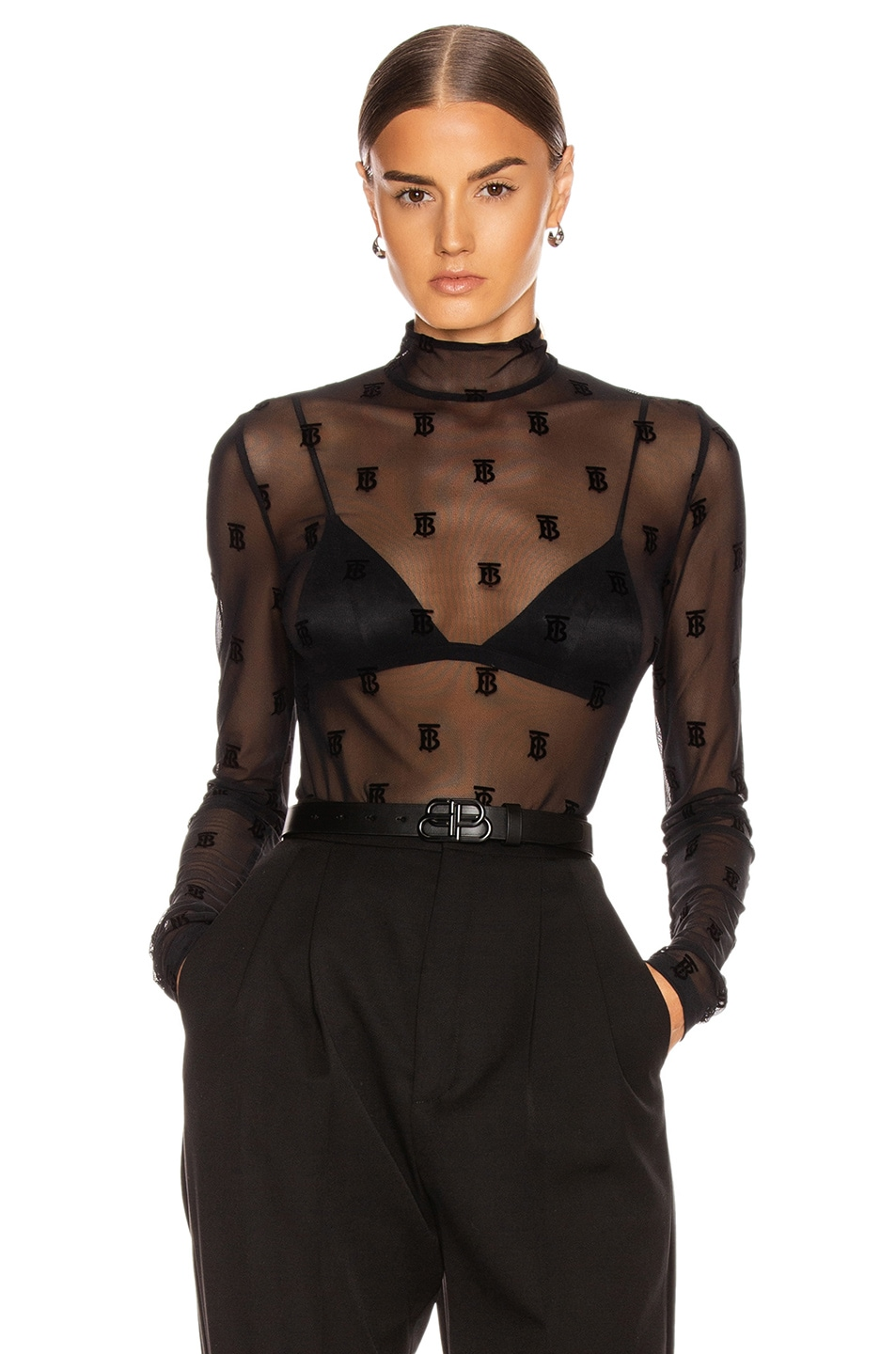 Image 1 of Burberry Mesh Flocked Top in Black