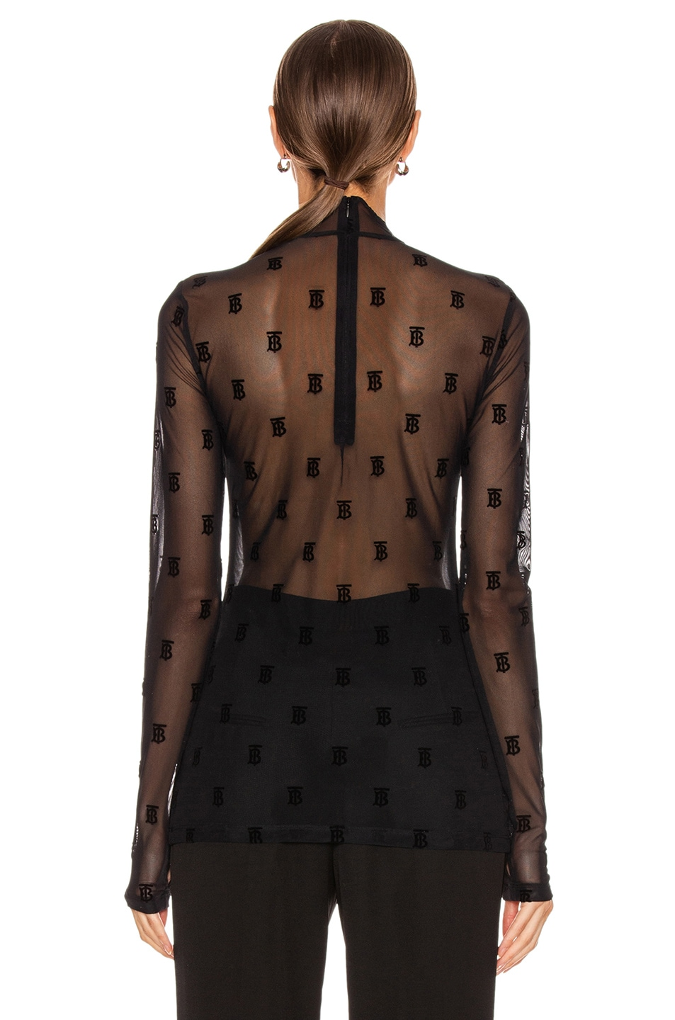 Image 3 of Burberry Mesh Flocked Top in Black
