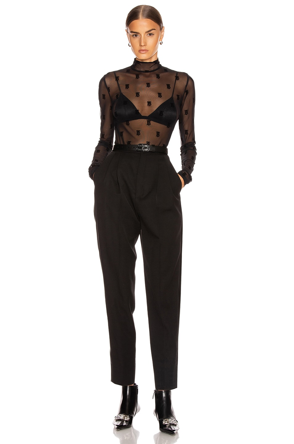 Image 4 of Burberry Mesh Flocked Top in Black