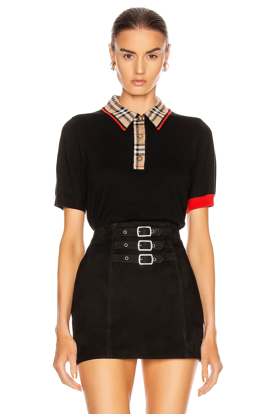 Image 1 of Burberry Penk Polo Top in Black
