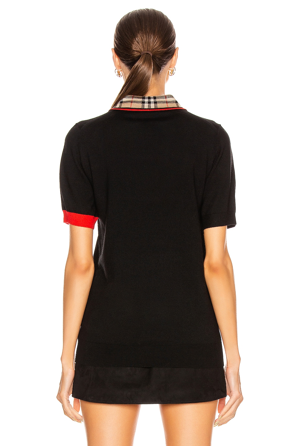 Image 3 of Burberry Penk Polo Top in Black