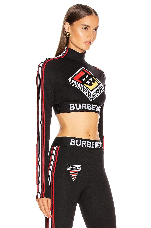 Image 2 of Burberry Soca Athletic Crop Top in Black