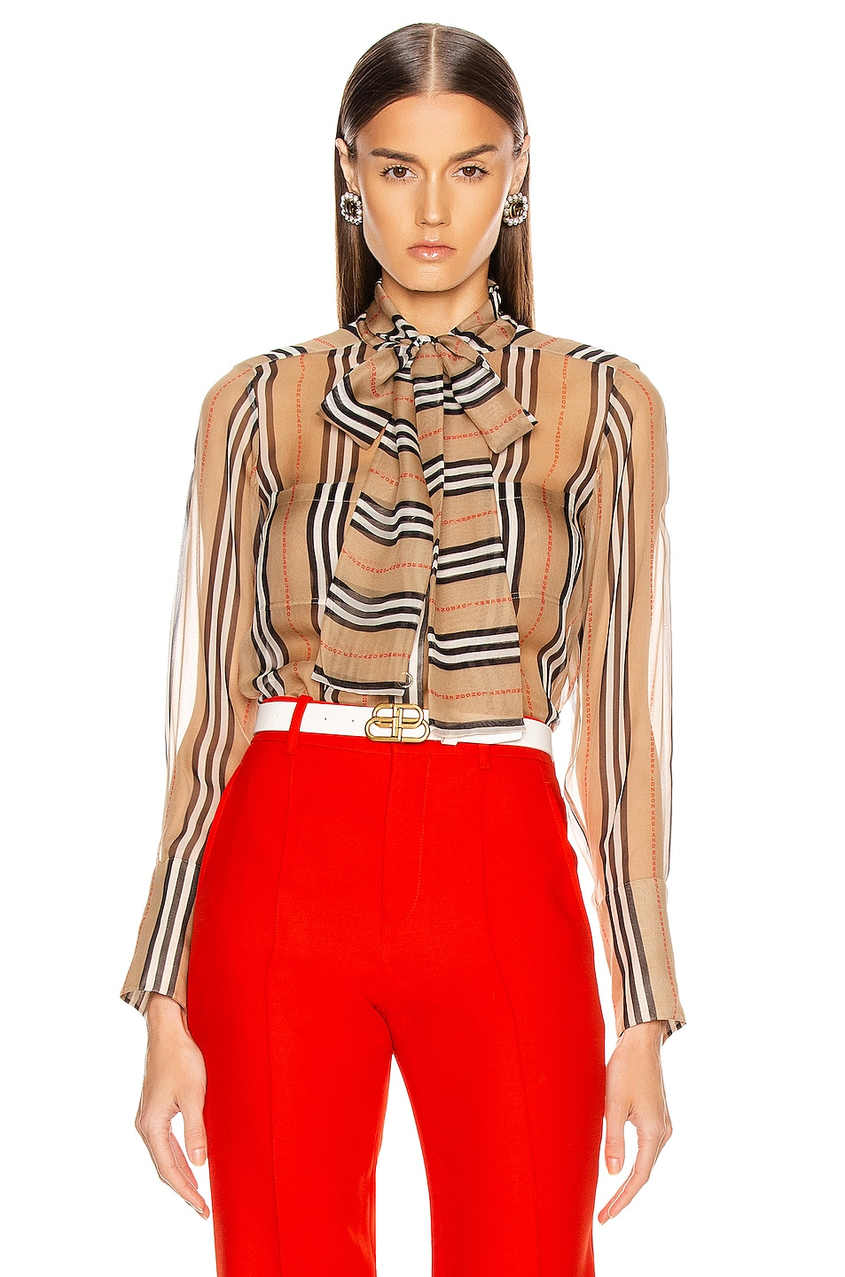 Image 1 of Burberry Amelie Tie Blouse in Archive Beige