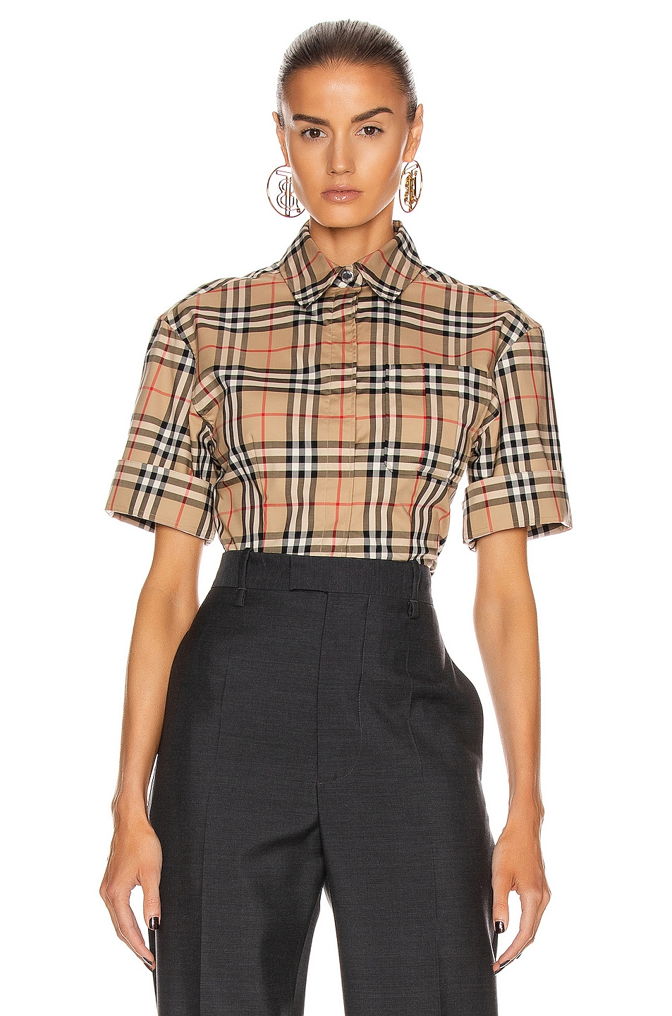 Image 2 of Burberry Short Sleeve Boxy Fit Top in Archive Beige Check