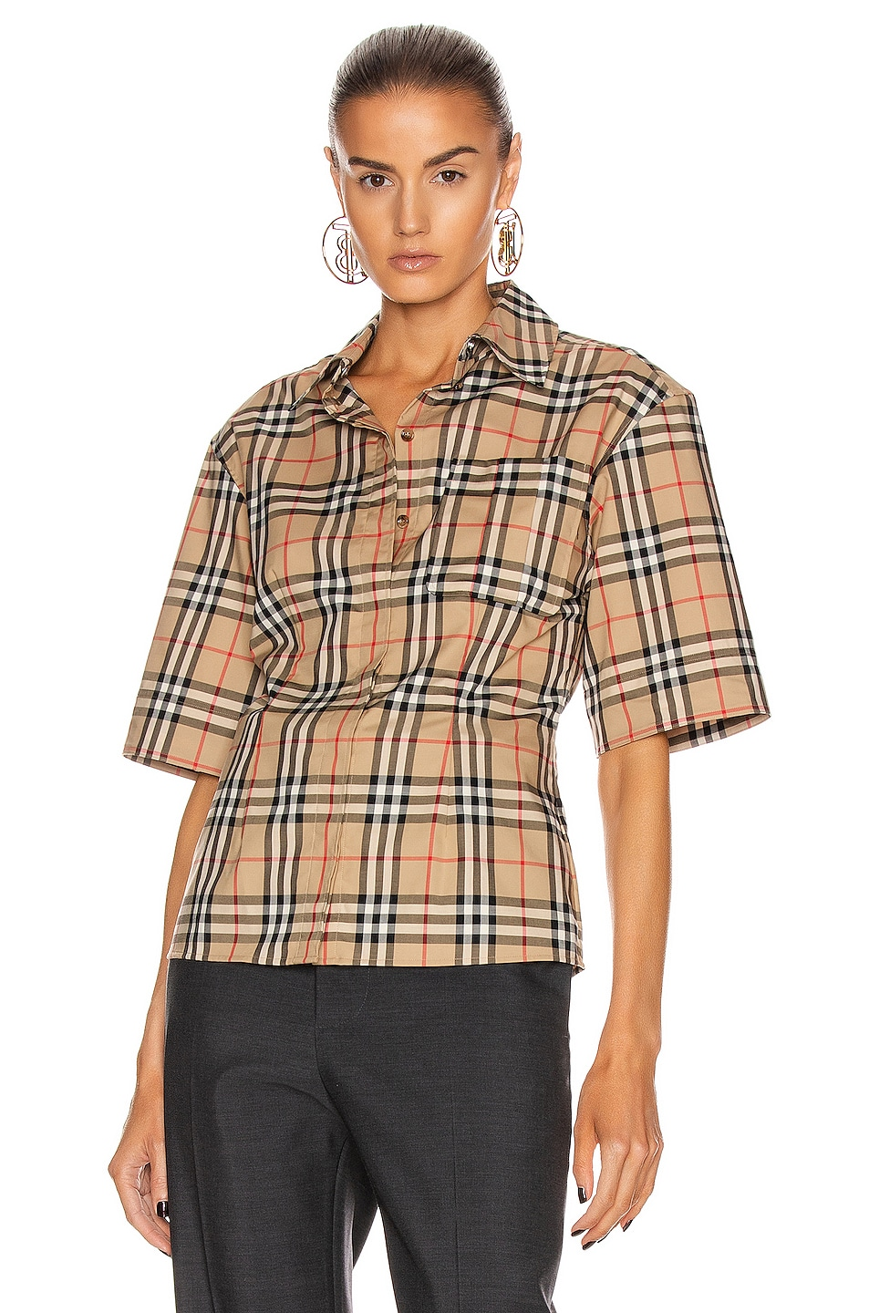 Image 3 of Burberry Short Sleeve Boxy Fit Top in Archive Beige Check
