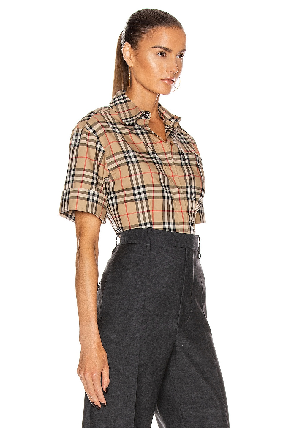 Image 4 of Burberry Short Sleeve Boxy Fit Top in Archive Beige Check