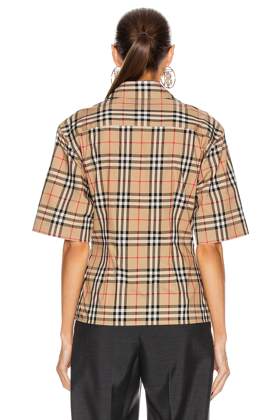 Image 5 of Burberry Short Sleeve Boxy Fit Top in Archive Beige Check