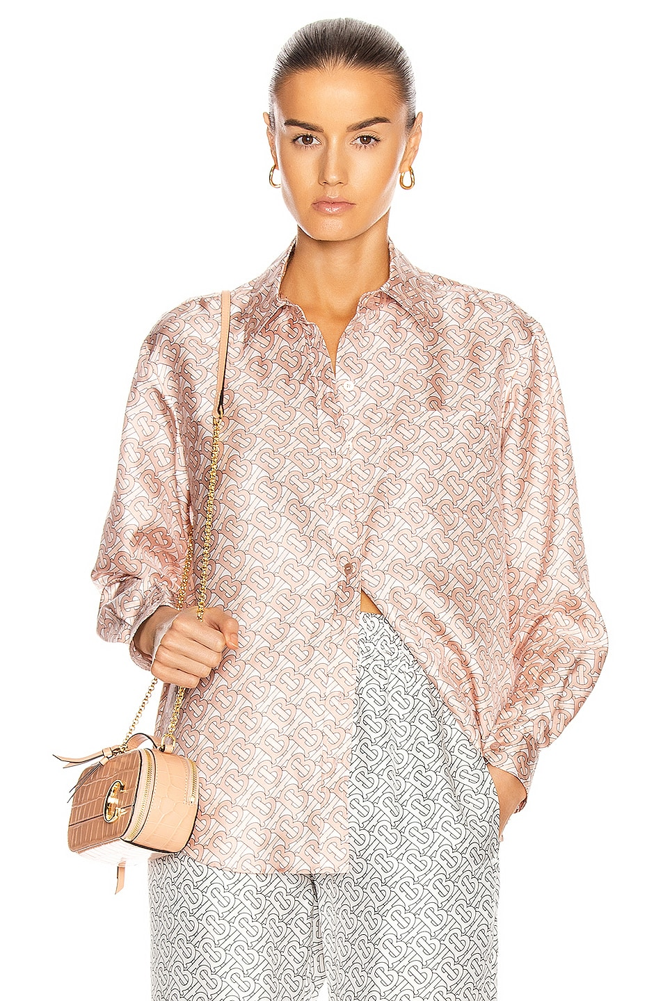 Image 1 of Burberry Monogram Button Down Top in Pale Copper Pink