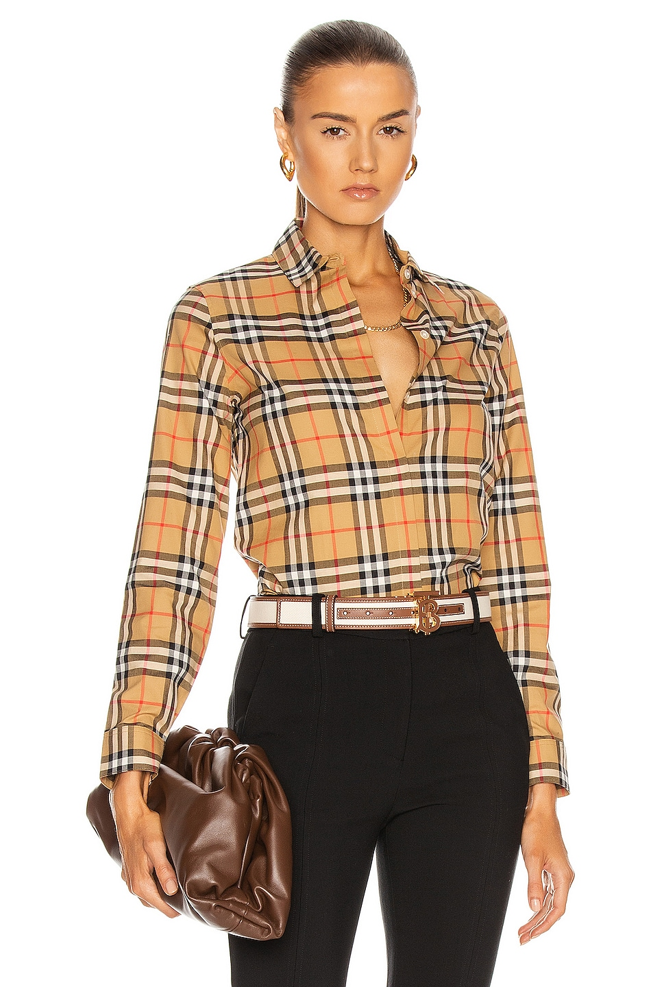 Image 1 of Burberry Crow Shirt in Antique Yellow Check
