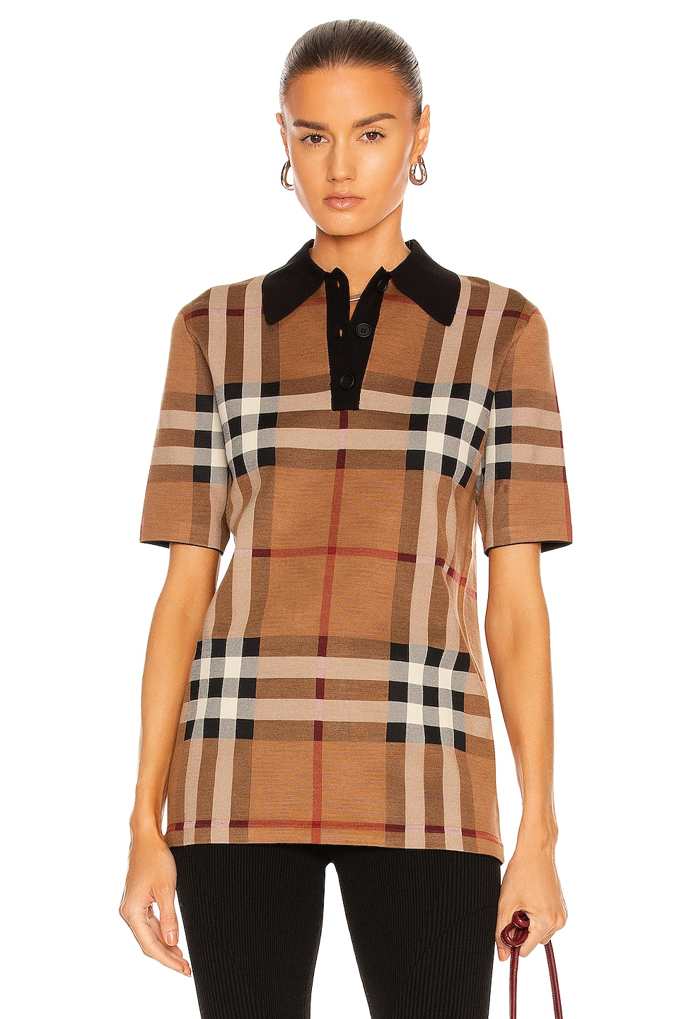 Image 1 of Burberry Kacie Check Polo Top in Birch Brown