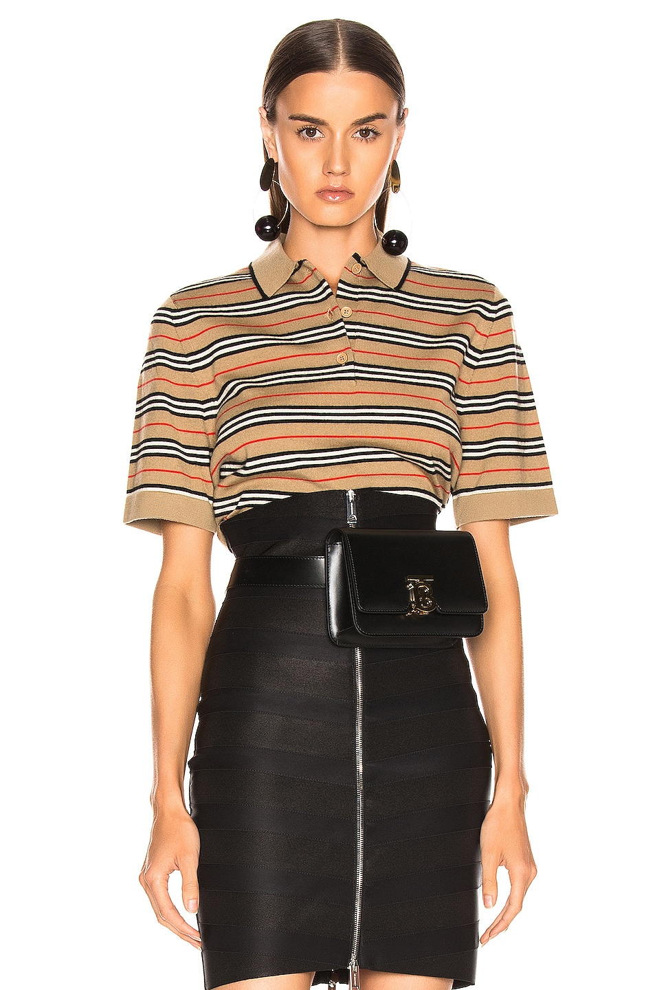 Image 1 of Burberry Stripe Polo Top in Camel