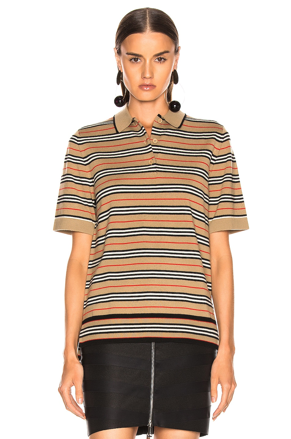 Image 2 of Burberry Stripe Polo Top in Camel