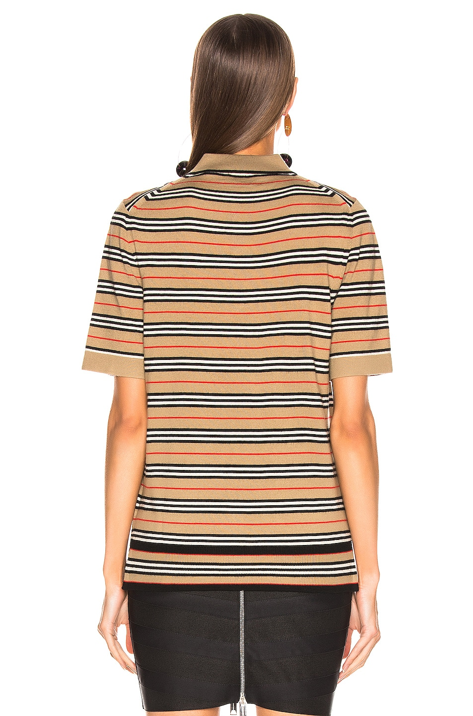 Image 4 of Burberry Stripe Polo Top in Camel