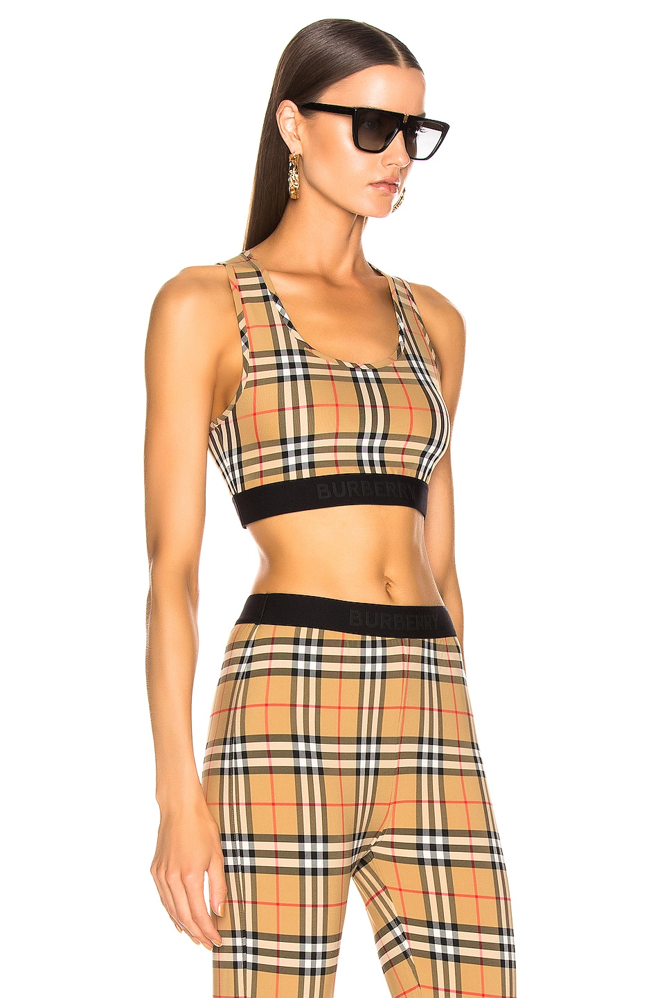 Image 2 of Burberry Logo Bra Top in Antique Yellow Check
