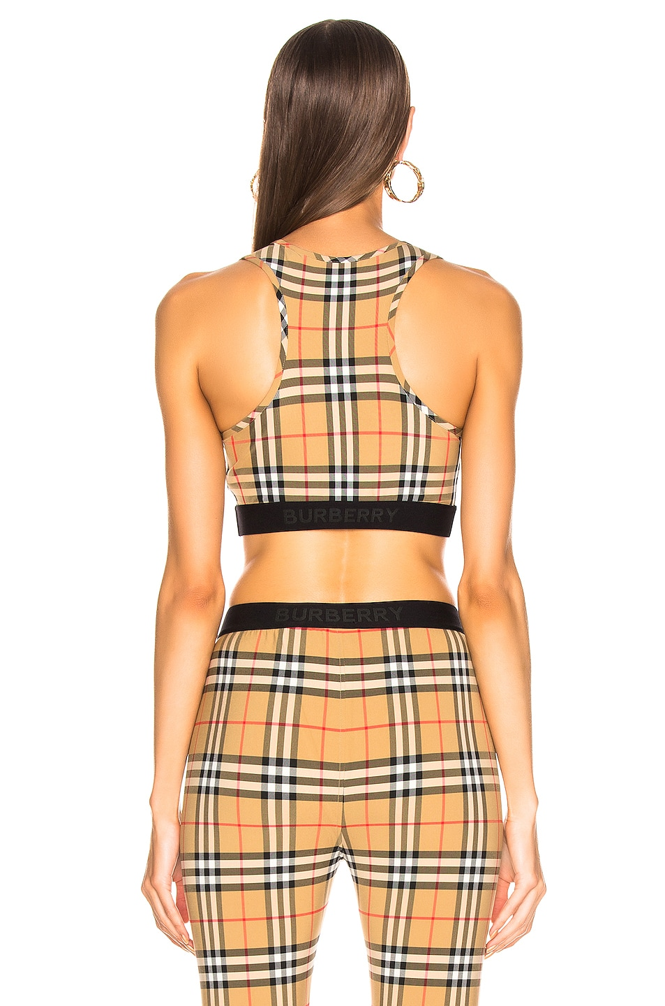 Image 3 of Burberry Logo Bra Top in Antique Yellow Check