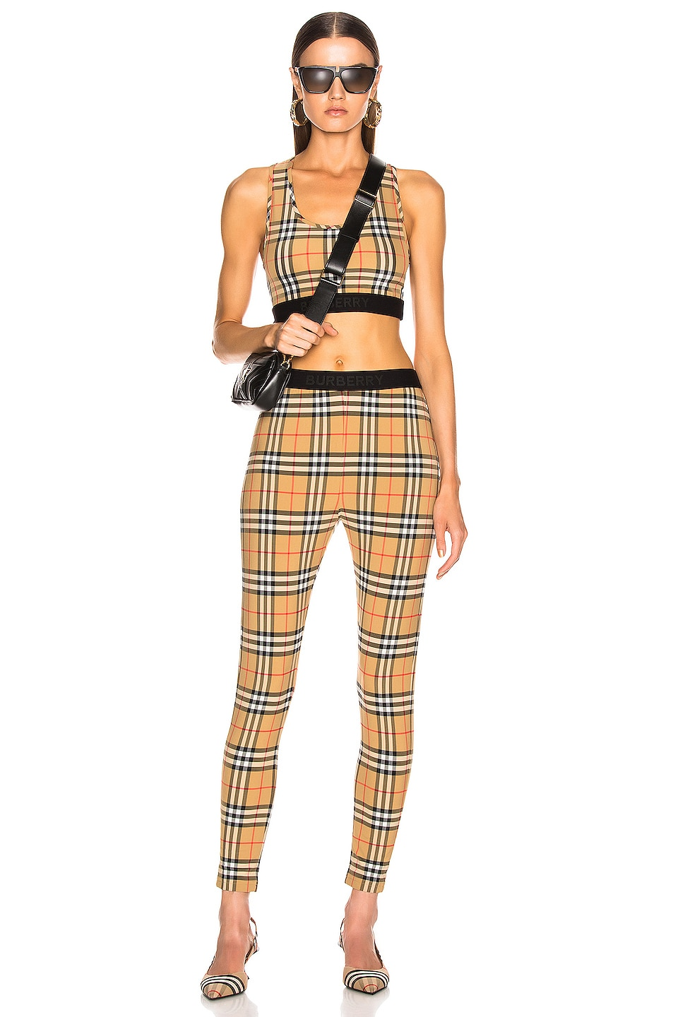 Image 4 of Burberry Logo Bra Top in Antique Yellow Check