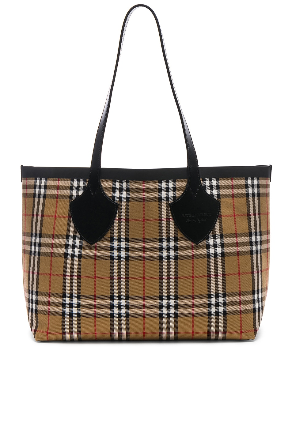 c721a714b47 Image 1 of Burberry Reversible Vintage Check Tote in Yellow   Bright Red
