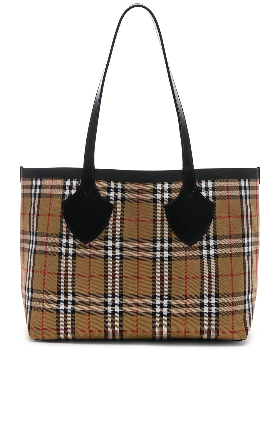Image 4 of Burberry Reversible Vintage Check Tote in Yellow & Bright Red