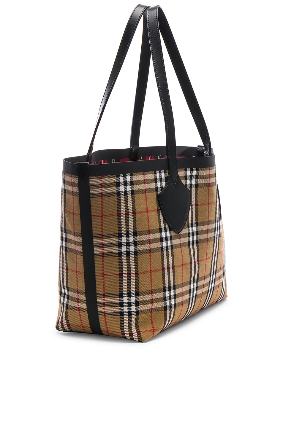 Image 5 of Burberry Reversible Vintage Check Tote in Yellow & Bright Red
