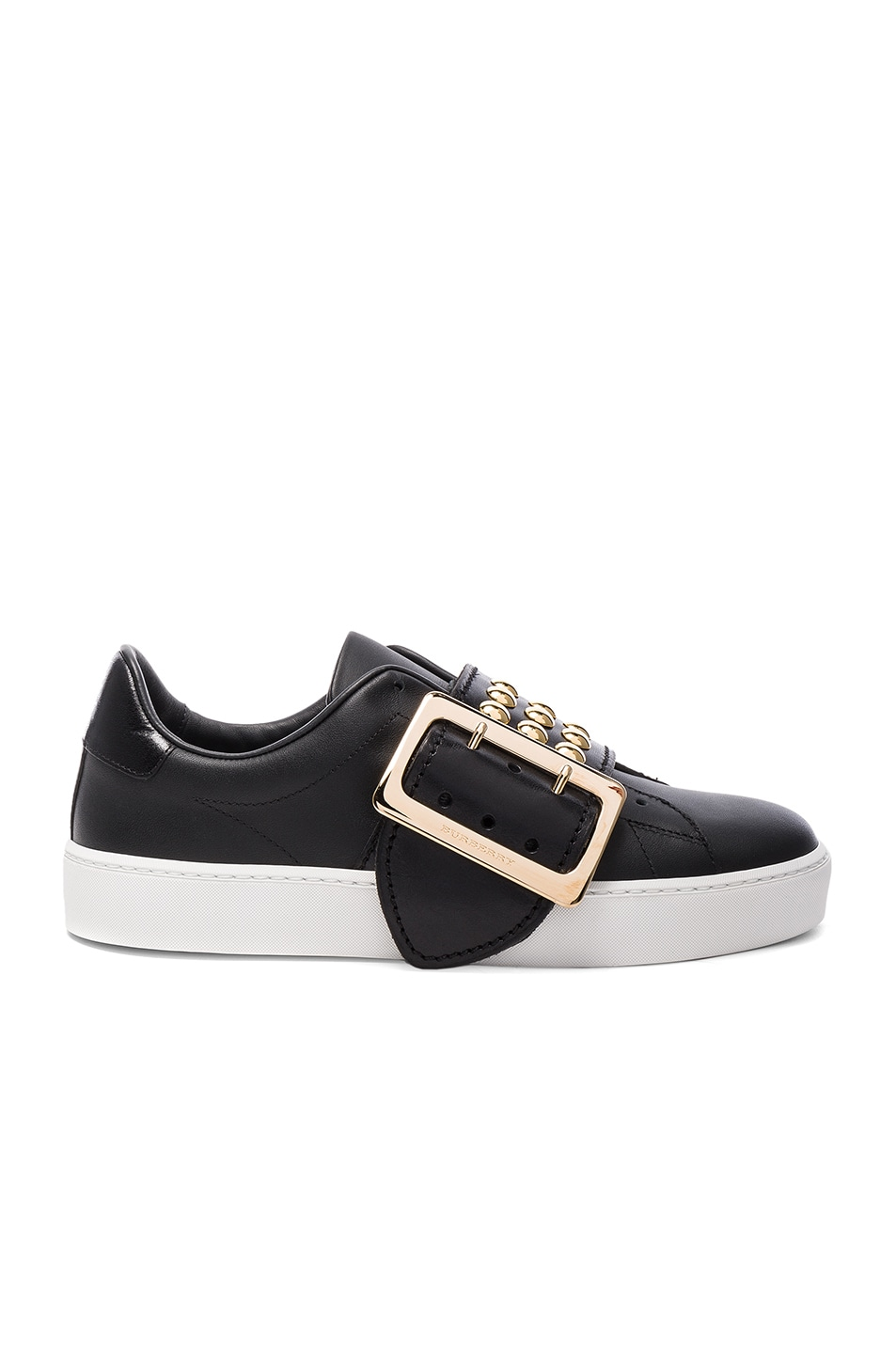 Image 1 of Burberry Studded Leather Westford Sneakers in Black