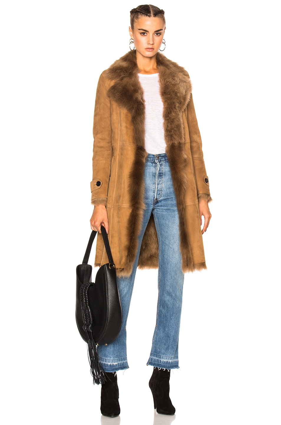 Image 1 of Burberry London Shearling Coat in Dark Camel