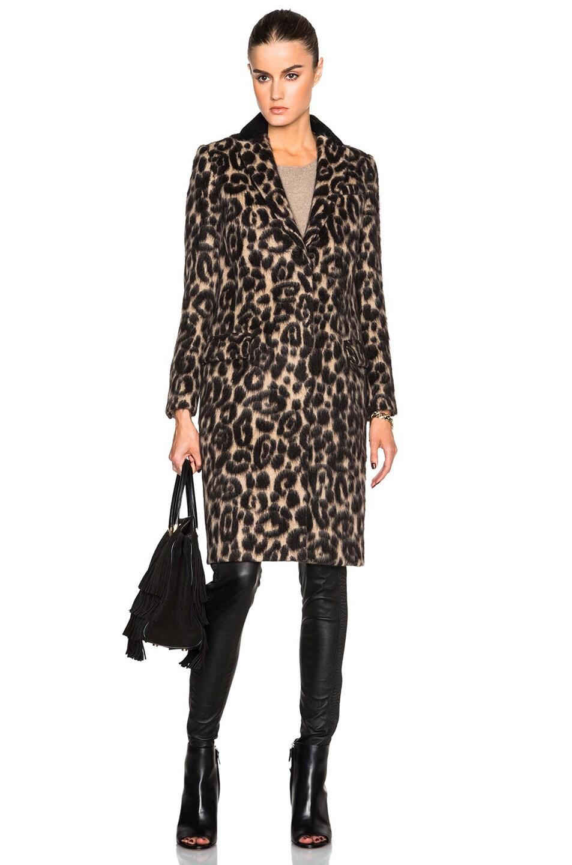 Image 1 of Burberry London Croasdale Leopard Slim Coat in Camel