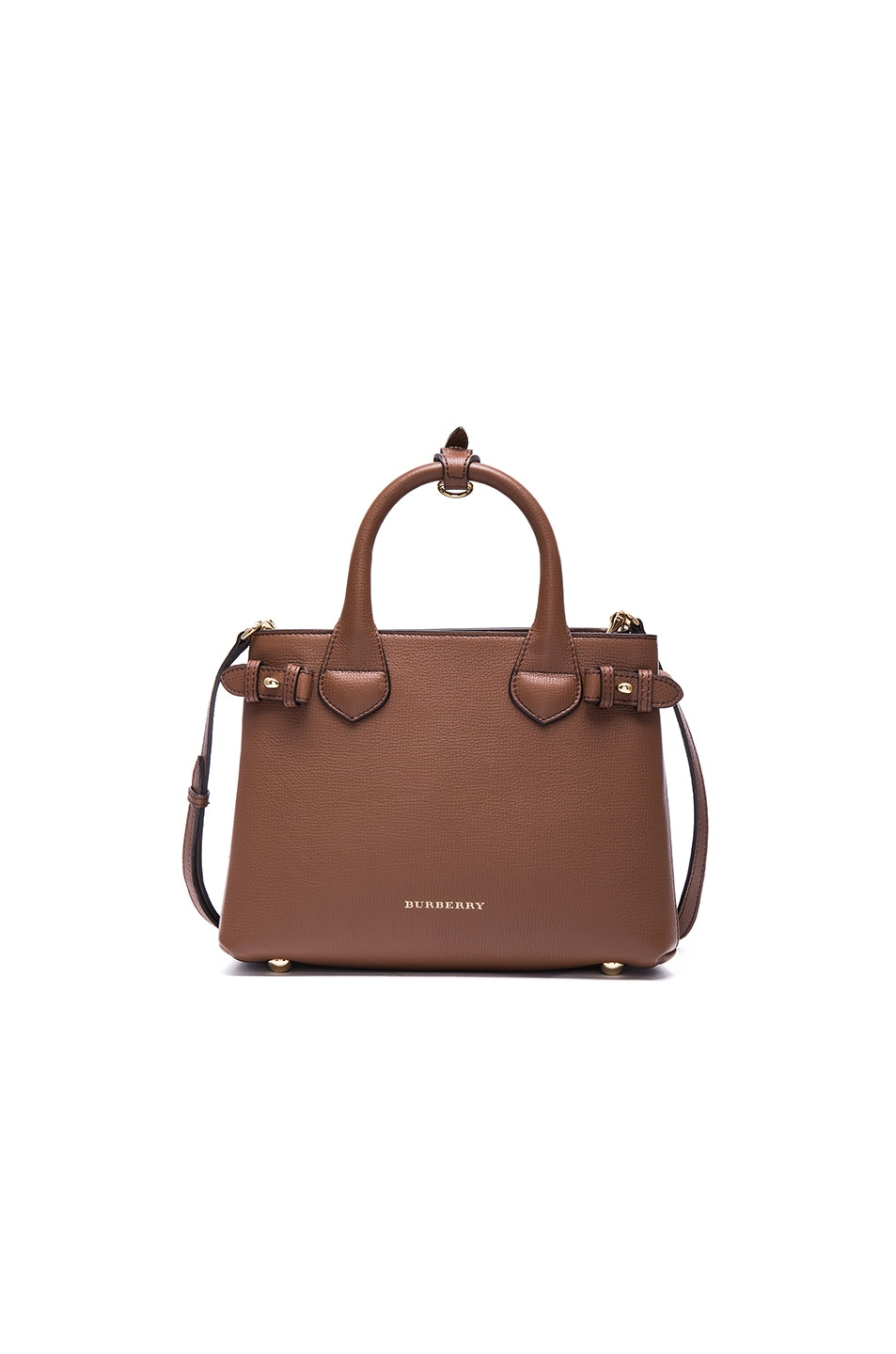 e5bbaaa4535e Image 1 of Burberry London Small Banner Check Leather Bag in Tan