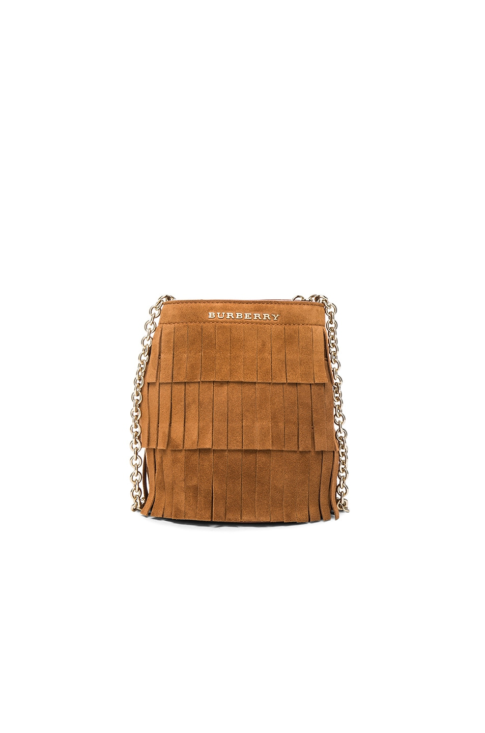 Image 1 of Burberry London Festive Fringed Suede Bucket Bag in Amber